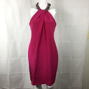 Carmen Marc Valvo Pink Silk Jewel Sheath Dress 8